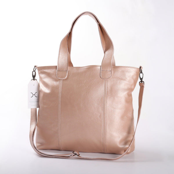 Thandana Jax Metallic Leather Handbag | Rose Gold - KaryKase