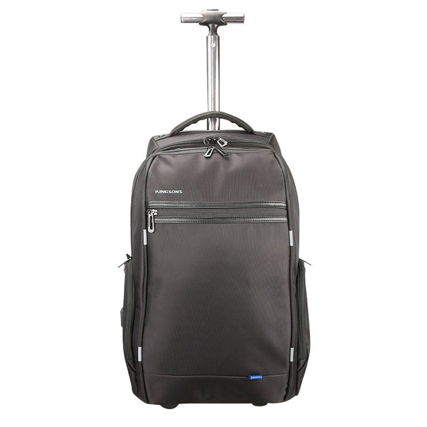 Kingsons Smart Series USB Backpack Trolley Bag With USB Charging Port | Black - KaryKase