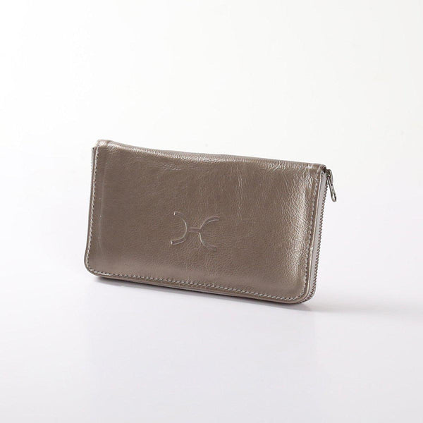Thandana Ladies Large Wallet Metallic Leather | Pewter - KaryKase