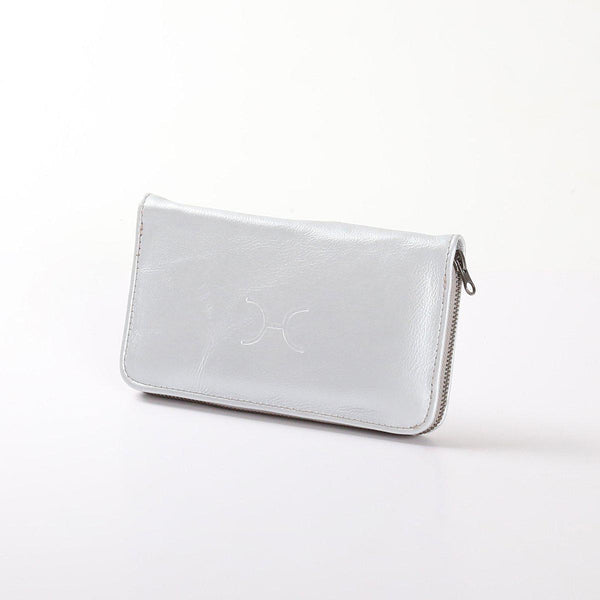 Thandana Ladies Large Wallet Metallic Leather | Silver - KaryKase