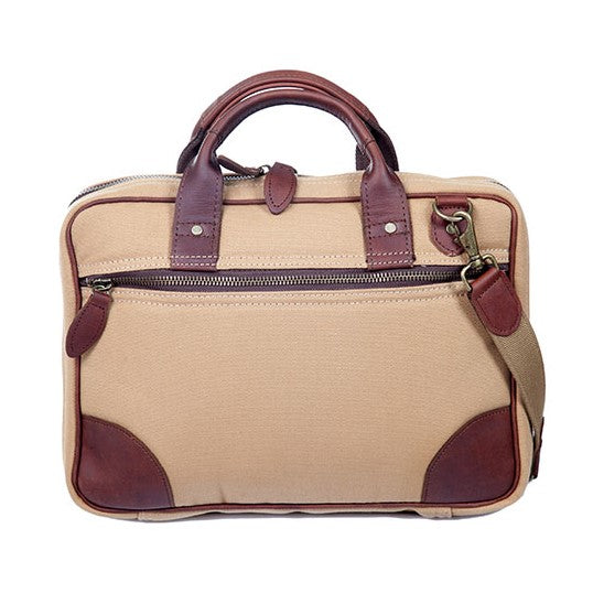 Melvill & Moon Leather Single Sleeve Laptop Bag | Khaki - KaryKase