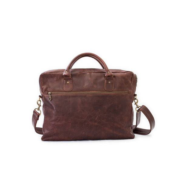 Mally Classic Leather Laptop Bag | Brown - KaryKase