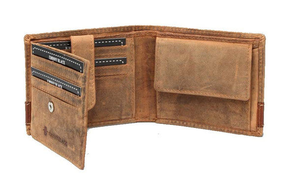 "Johnny Black Rugged Leather 8CC Wallet | Brown - ""Big 5 Detail"" - KaryKase"