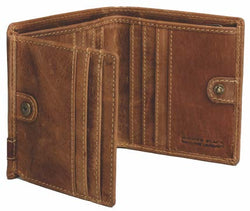 Johnny Black Rugged Leather 12CC Stud Closure Wallet | Brown - KaryKase