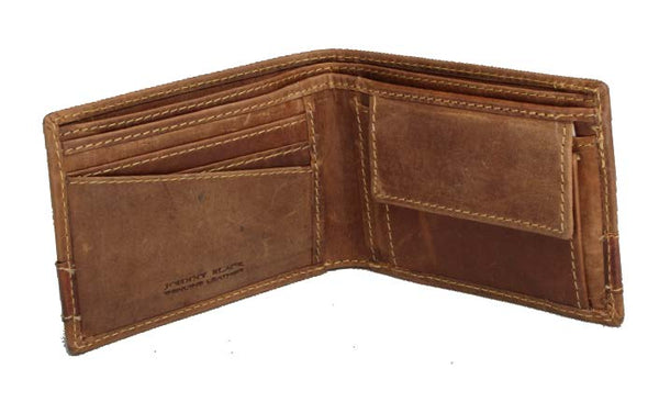 Johnny Black Rugged Leather Mini Compact 3CC Wallet | Brown With Rhino Detail - KaryKase