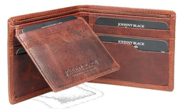 Johnny Black VT Antique 12CC Bi-Fold Leather Wallet - RFID | Brown - KaryKase