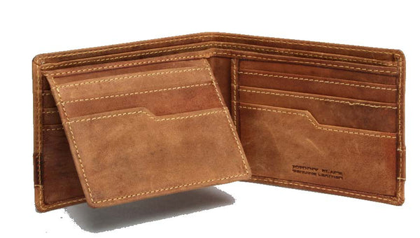 "Johnny Black Rugged Leather 9CC Wallet | Brown - ""Big 5 Details"" - KaryKase"