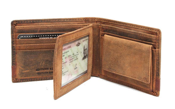 "Johnny Black Rugged Leather 9CC Flap Wallet | Brown - ""Big 5 Detail"" - KaryKase"