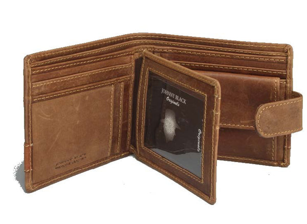 "Johnny Black Rugged Leather 9CC Wallet | Brown - ""Big 5 Detail"" - KaryKase"