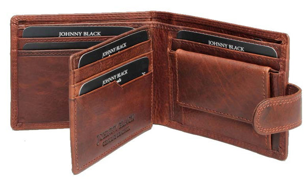 Johnny Black VT Antique 10CC Tab Closure Leather Wallet - RFID | Brown - KaryKase