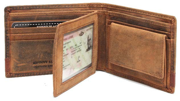 Johnny Black Rugged Leather 9CC Flap Wallet | Brown - KaryKase
