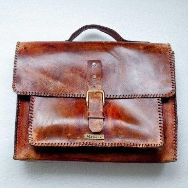Mebala Masego Handmade Leather Laptop Bag | Dark Brown - KaryKase