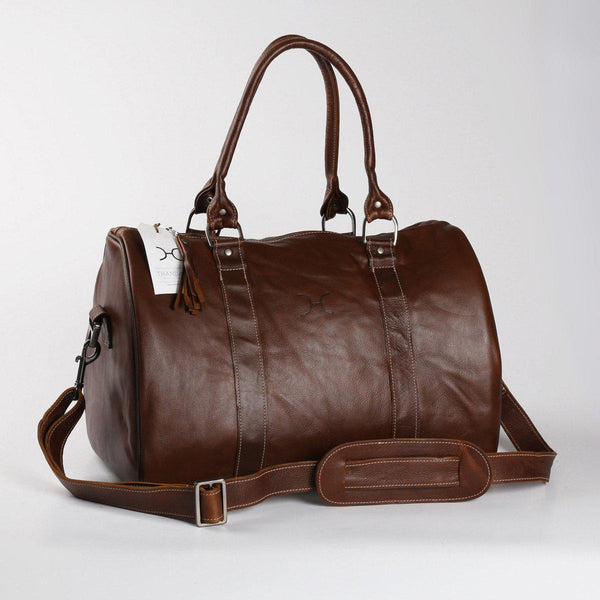 Thandana Medium Leather Travel Duffel Bag