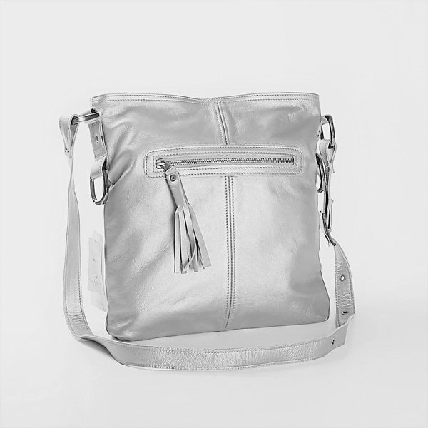 Thandana Messenger Metallic Leather Handbag | Silver - KaryKase