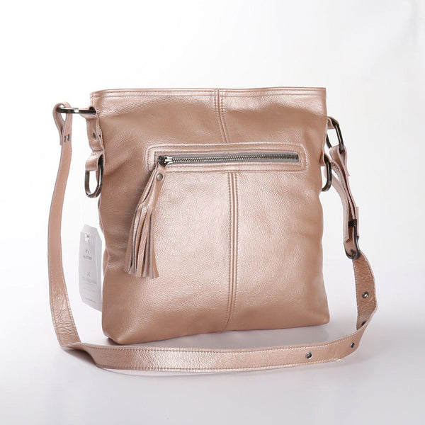 Thandana Messenger Metallic Leather Handbag | Rose Gold - KaryKase
