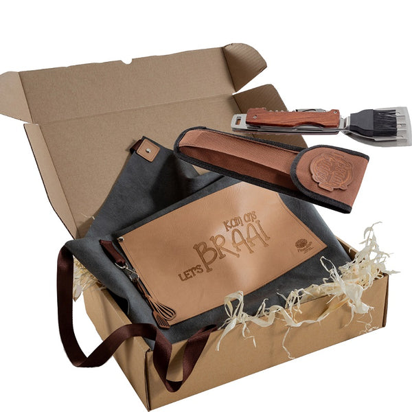 Yuppie Gift Baskets Let's Braai Combo – Apron and Braai Gadget - KaryKase