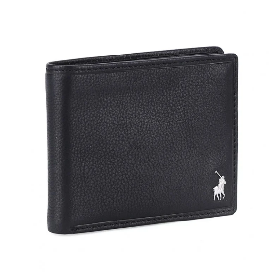 Polo Nappa Leather Billfold With Coin Section Wallet | Black - KaryKase