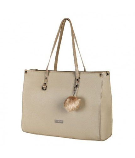 Supernova Pompom Ladies Laptop Bag | Taupe - KaryKase