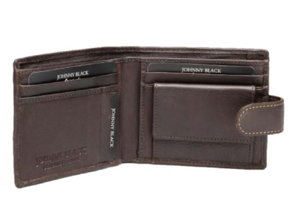 Johnny Black Antique 7CC Leather Tab Wallet | Brown