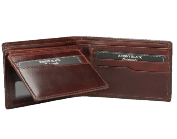Johnny Black Berlin Polished Leather 12CC Wallet | Brown