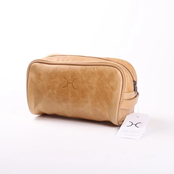 Thandana Mens Vanity Leather Case | Hazelnut