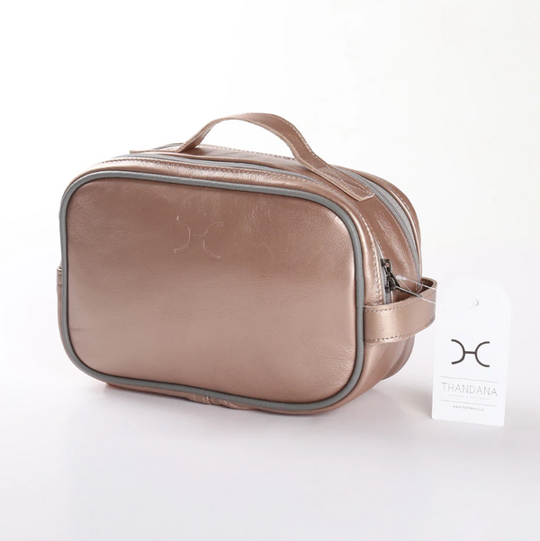 Thandana Unisex Metallic Leather Vanity Case | Champagne - KaryKase