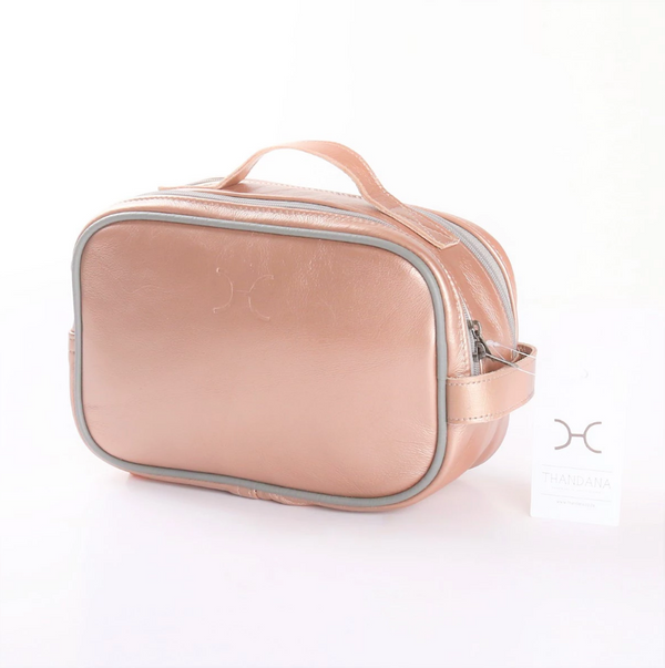 Thandana Unisex Metallic Leather Vanity Case | Rose Gold