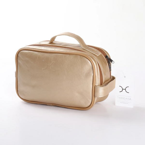Thandana Unisex Metallic Leather Vanity Case | Gold