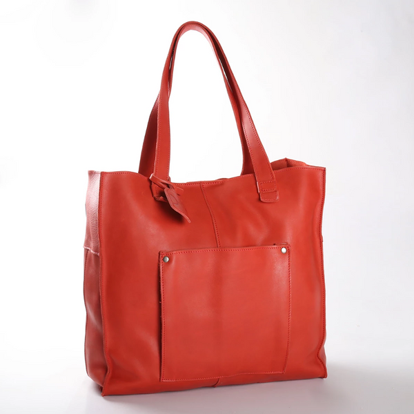 Thandana Tote Leather Handbag | Red - KaryKase