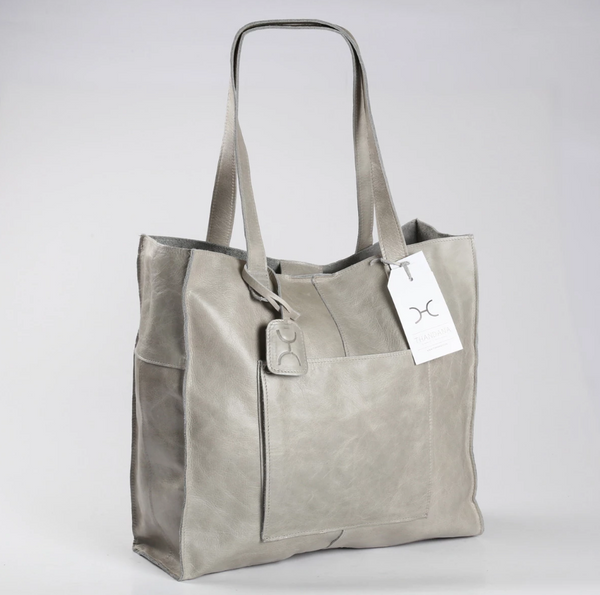 Thandana Tote Leather Handbag | Grey - KaryKase