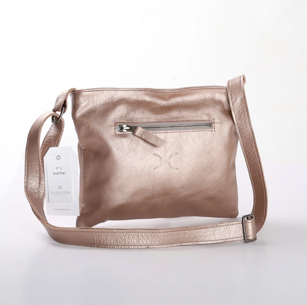 Thandana Mini Messenger Metallic Leather Handbag | Champagne - KaryKase