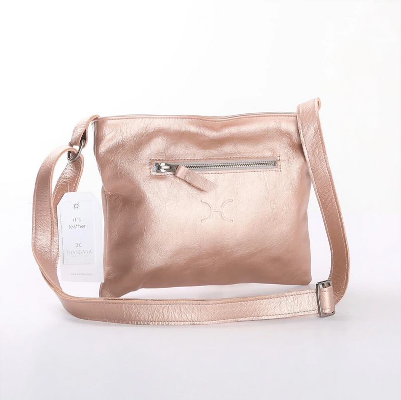 Thandana Mini Messenger Metallic Leather Handbag | Rose Gold - KaryKase