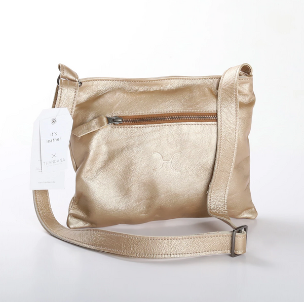 Thandana Mini Messenger Metallic Leather Handbag | Gold - KaryKase