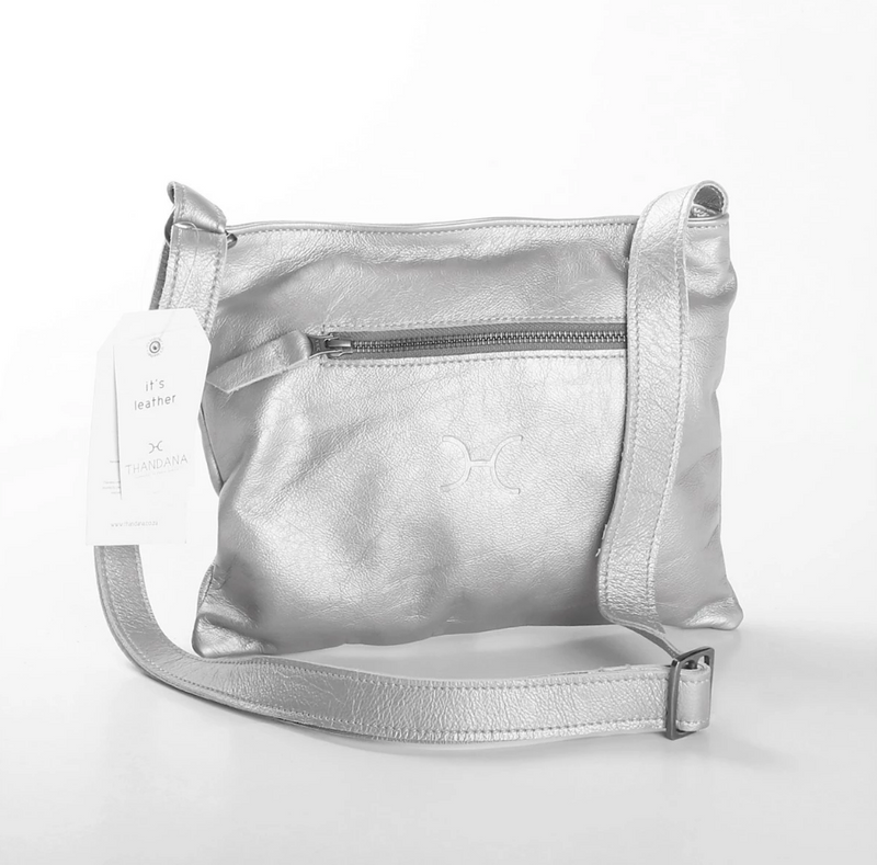 Thandana Mini Messenger Metallic Leather Handbag | Silver - KaryKase