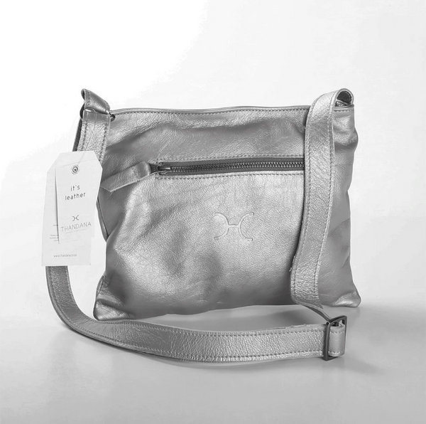 Thandana Mini Messenger Metallic Leather Handbag | Pewter - KaryKase