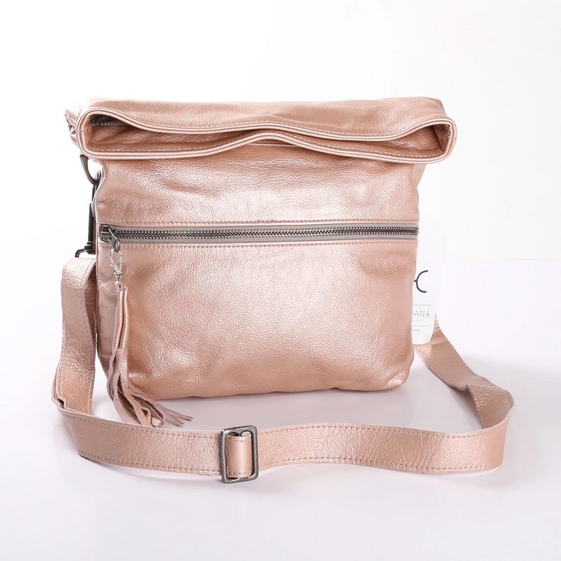 Thandana Erica Metallic Leather Handbag | Rose Gold - KaryKase