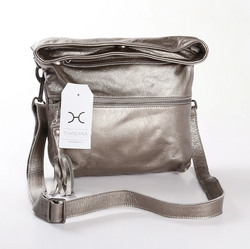 Thandana Erica Metallic Leather Handbag | Pewter - KaryKase