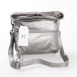 Thandana Erica Metallic Leather Handbag | Silver - KaryKase