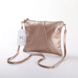 Thandana Crossover Metallic Leather Handbag | Champagne - KaryKase