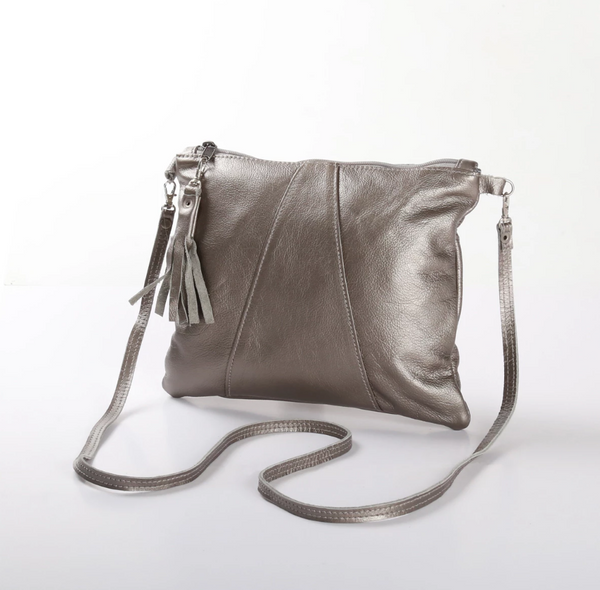 Thandana Crossover Metallic Leather Handbag | Pewter - KaryKase