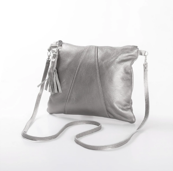 Thandana Crossover Metallic Leather Handbag | Silver - KaryKase