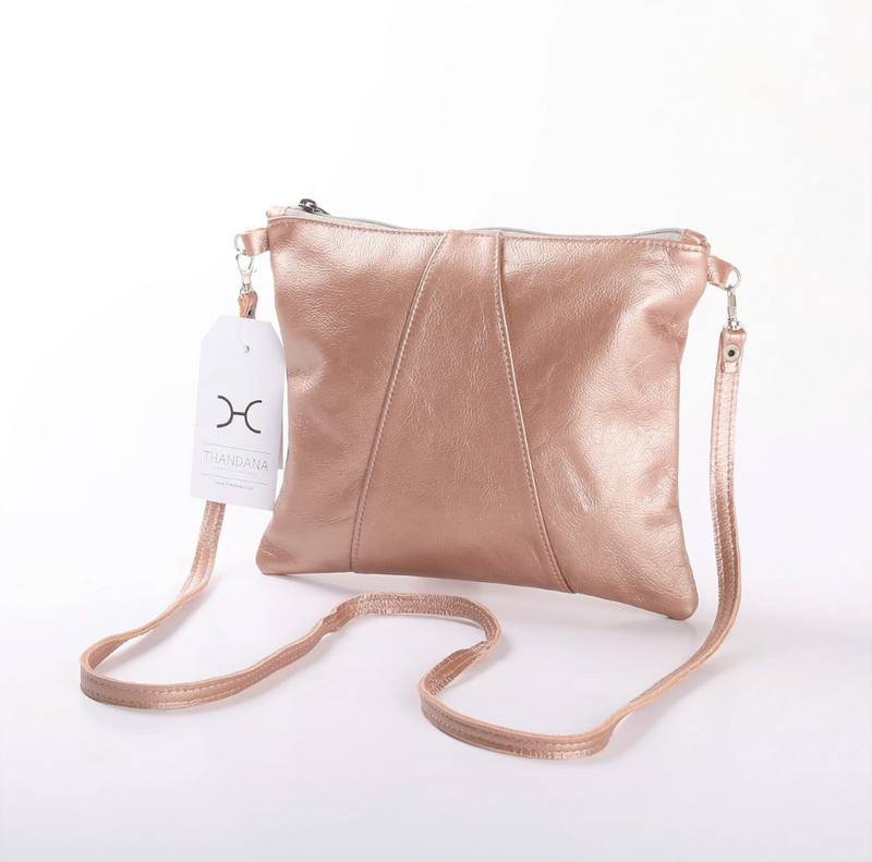 Thandana Crossover Metallic Leather Handbag | Rose Gold - KaryKase