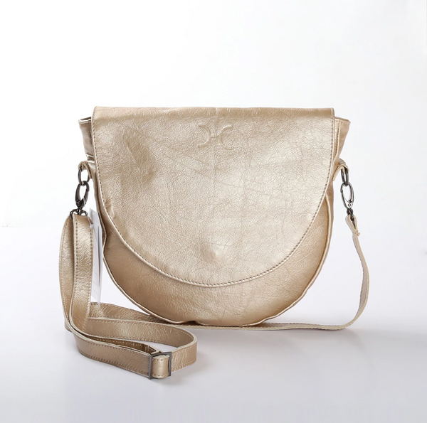 Thandana Saddle Metallic Leather Handbag | Gold - KaryKase