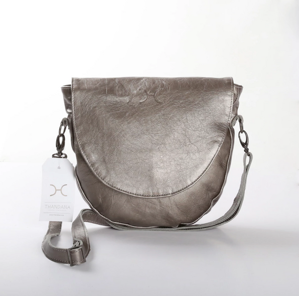 Thandana Saddle Metallic Leather Handbag | Pewter - KaryKase