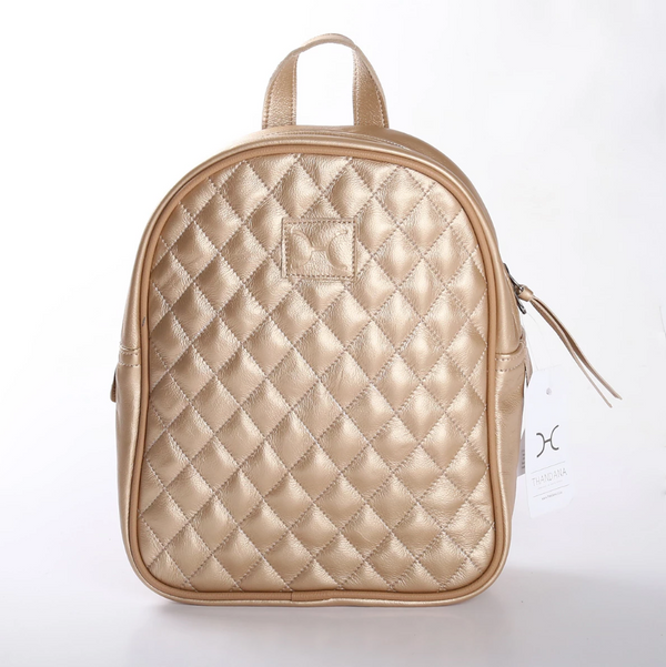 Thandana Jen Metallic Leather Backpack | Gold - KaryKase