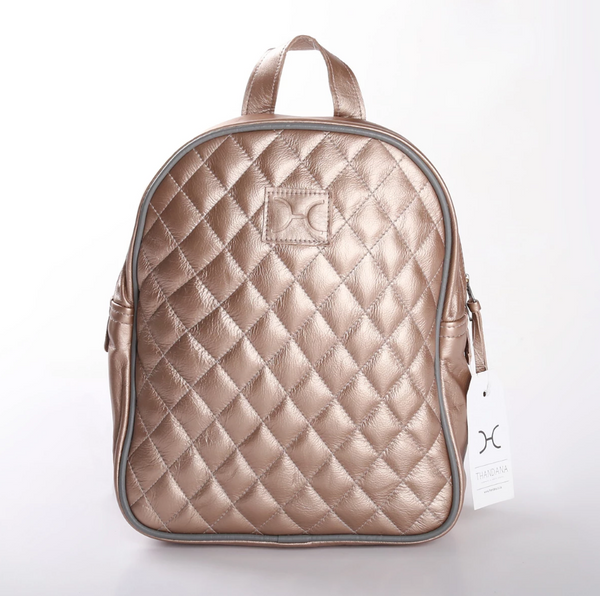 Thandana Jen Metallic Leather Backpack | Champagne