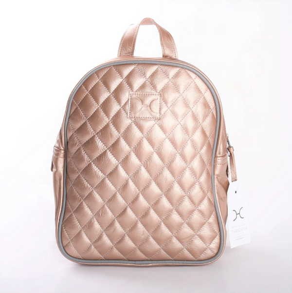 Thandana Jen Metallic Leather Backpack | Rose Gold