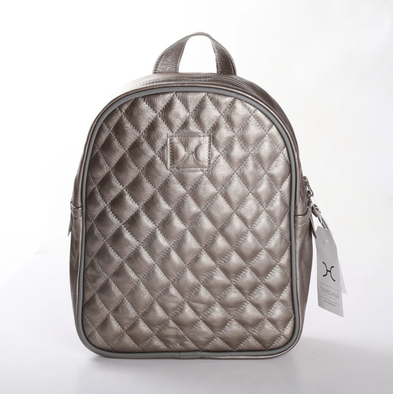 Thandana Jen Metallic Leather Backpack | Pewter - KaryKase
