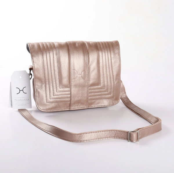 Thandana Katie Metallic Leather Sling Clutch | Champagne - KaryKase