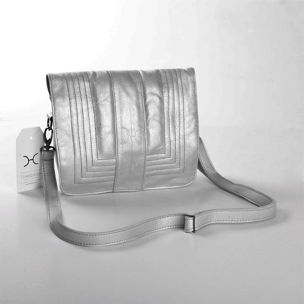 Thandana Katie Metallic Leather Sling Clutch | Pewter - KaryKase
